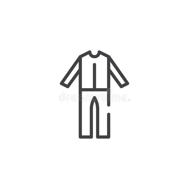 Man pajamas line icon vector illustration