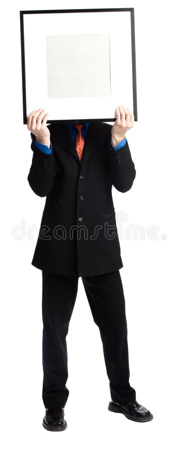 Man with a panel royalty free stock images