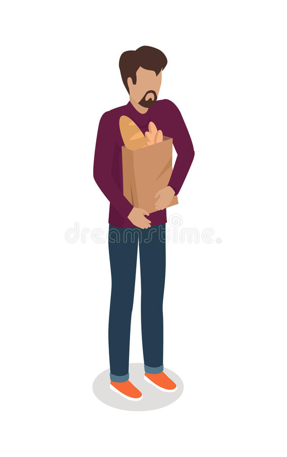 Man with Paper Bag Buying Daily Products Vector stock illustration