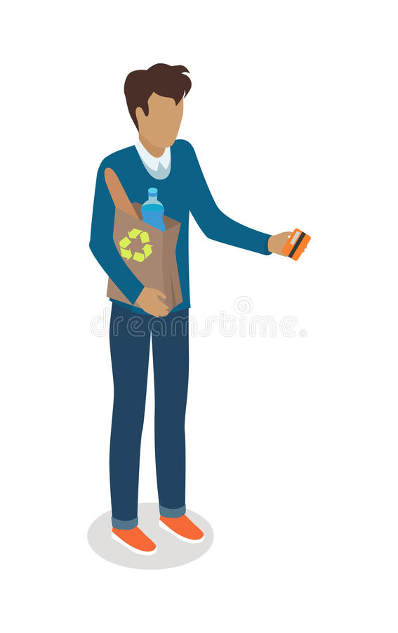 Man with Paper Bag Buying Daily Products Vector royalty free illustration