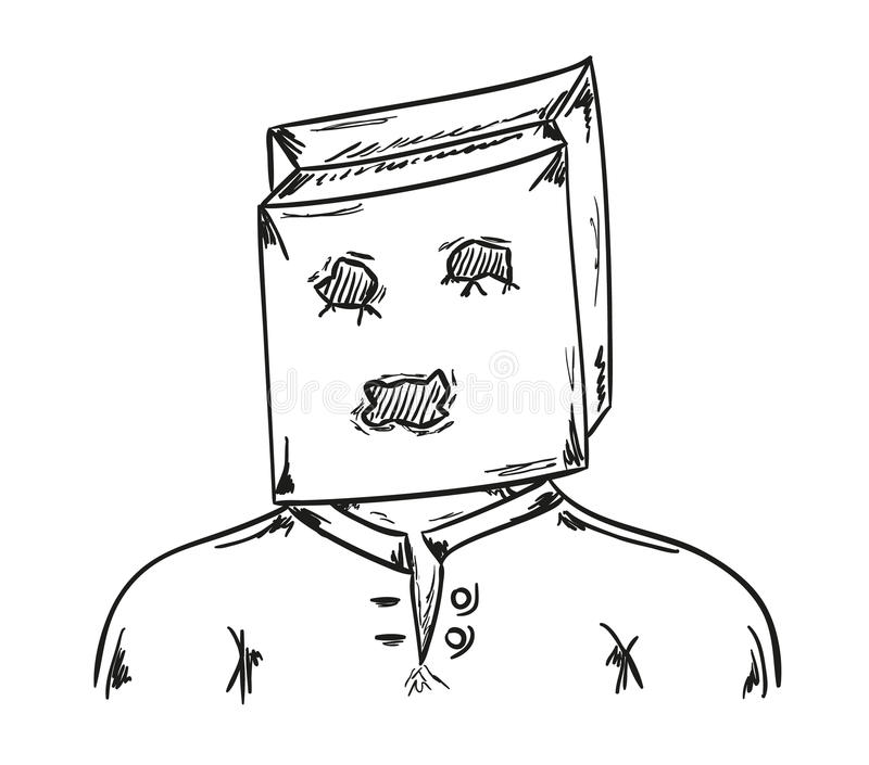 Man with paper bag on his head stock illustration