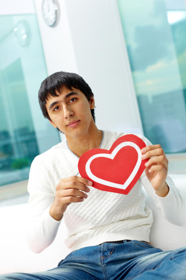 Man With Paper Heart Royalty Free Stock Images