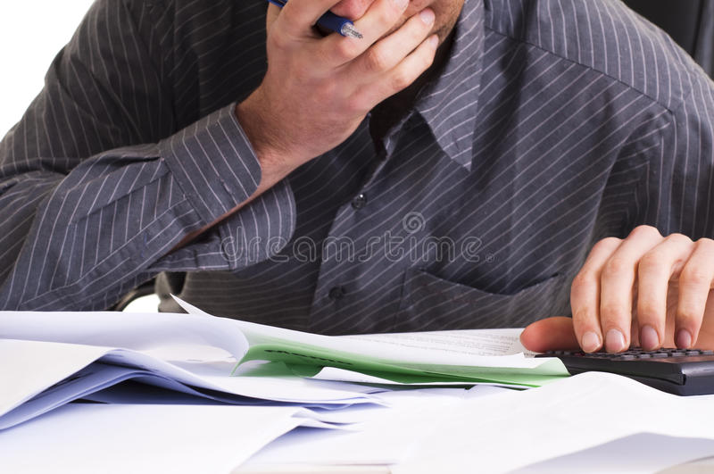 Man And Paper Work Stock Photography