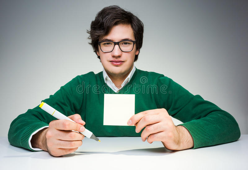 Man with paper royalty free stock image