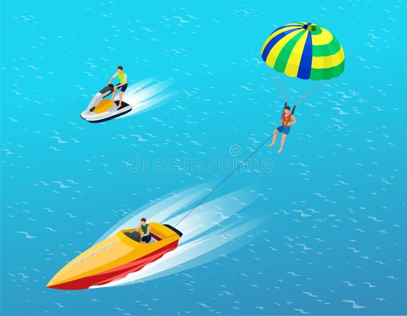 Man parasailing med hoppa fallskärm bak det motoriska fartyget Idérikt semesterbegrepp konkurrensar som dyker pölsportar som simm stock illustrationer