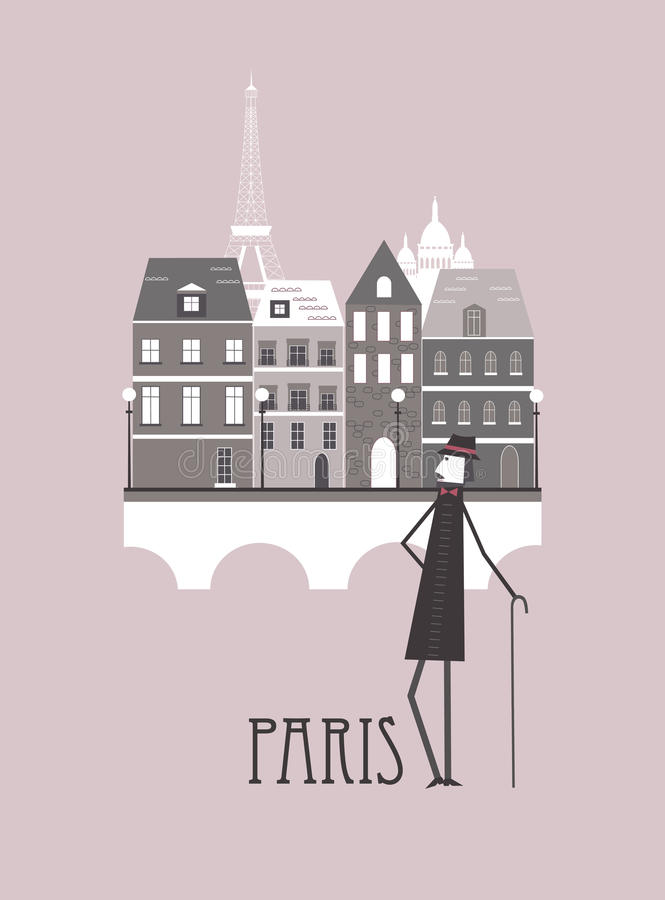 Download Man in Paris stock vector. Image of arch, lights, hipster - 28941044
