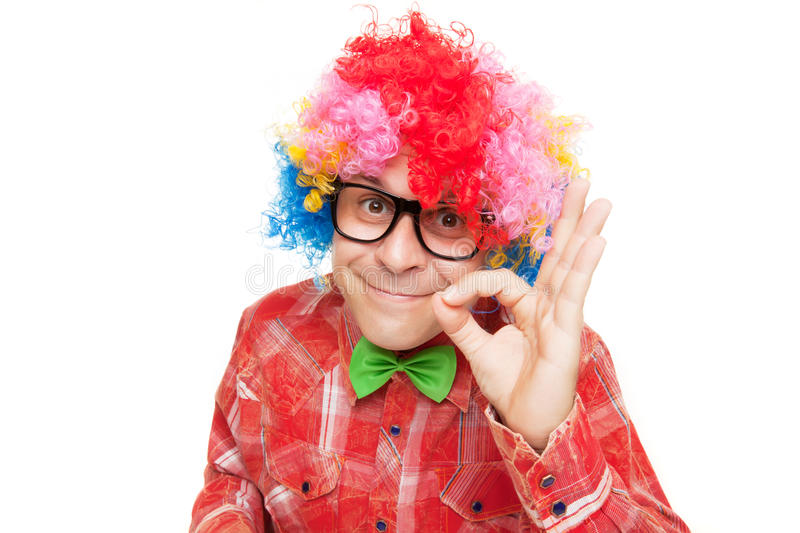 Man with party wig royalty free stock image