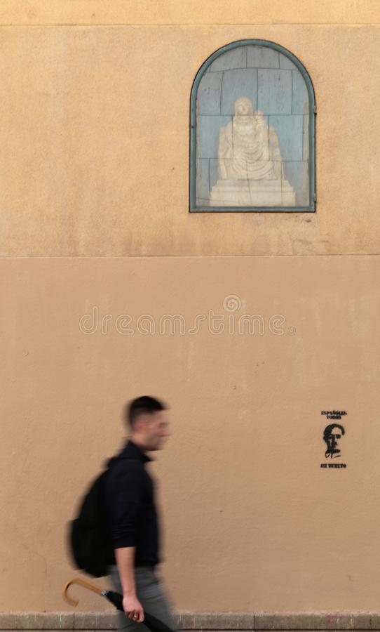 Franco is back painting in barcelona vertical royalty free stock image