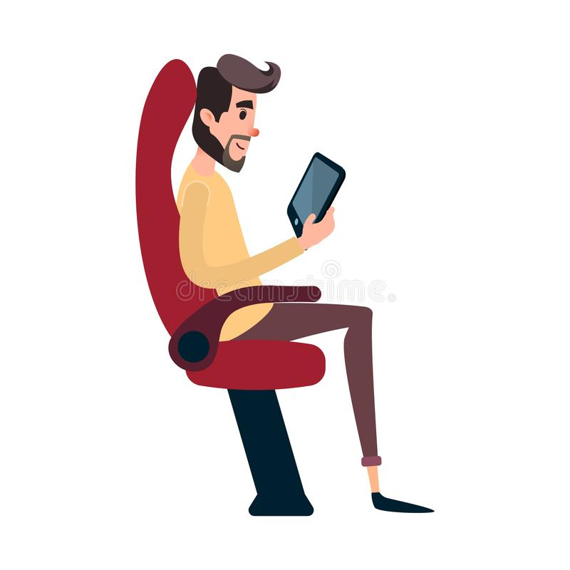 A man is a passenger on a bus or plane. A young man sits in the airplane`s chair and looks at the tablet. The bus seat. Is occupied by the reading man vector illustration