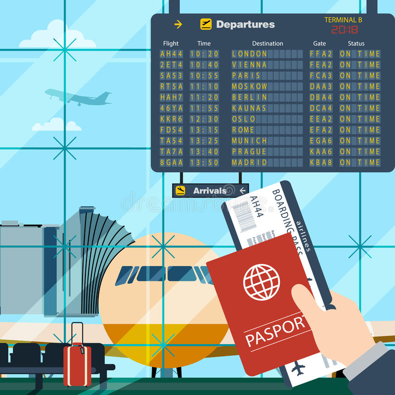 Man with passport and boarding pass waiting flight. Illustration inside in flat design of airport with a plane with gangplank, timetable in background. Travel vector illustration