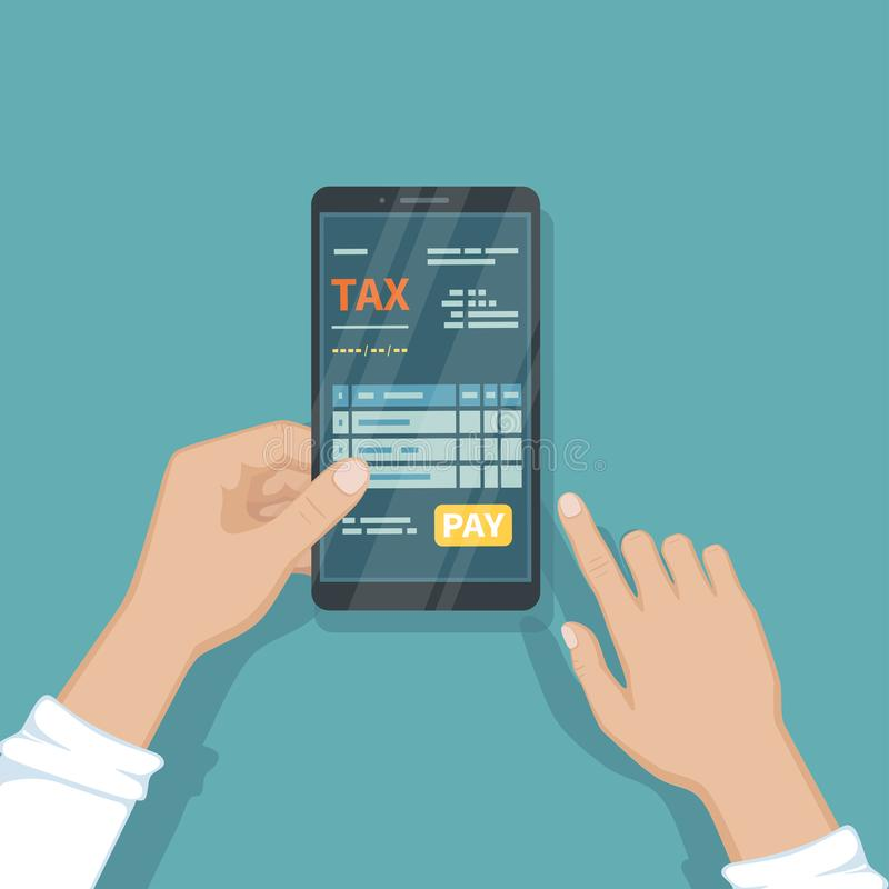 Man pay taxes using smartphone. Online tax Online paying, bookkeeping, accounting via phone. Man holding a mobile phone with tax stock illustration