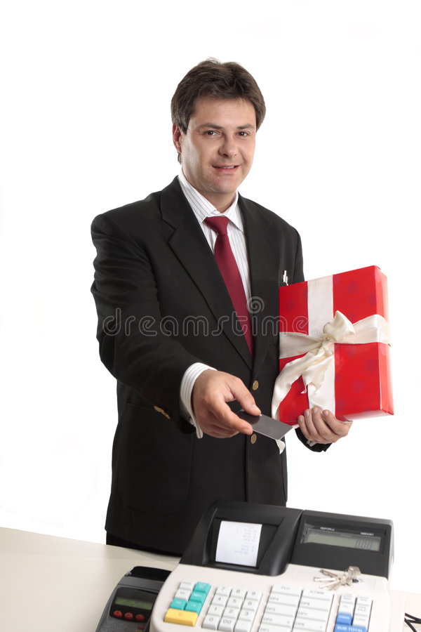 Download Man Paying For Persent With Card Stock Photo - Image: 6848468