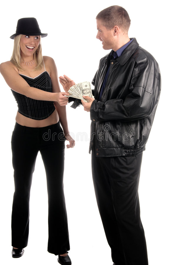Man paying woman stock photo