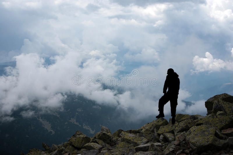 Man On The Peak Stock Photos
