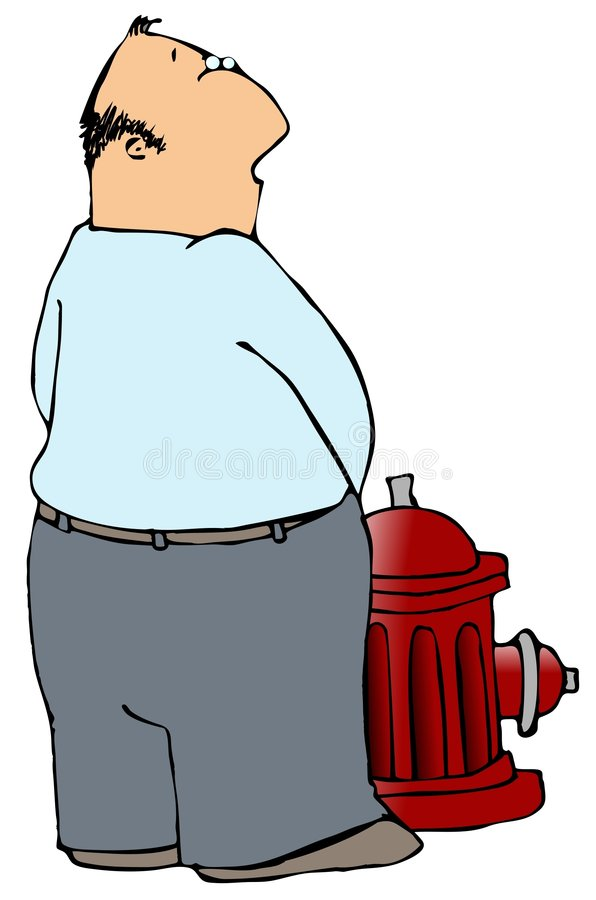Man Peeing On A Fire Hydrant. This illustration depicts a man peeing on a fire hydrant royalty free illustration