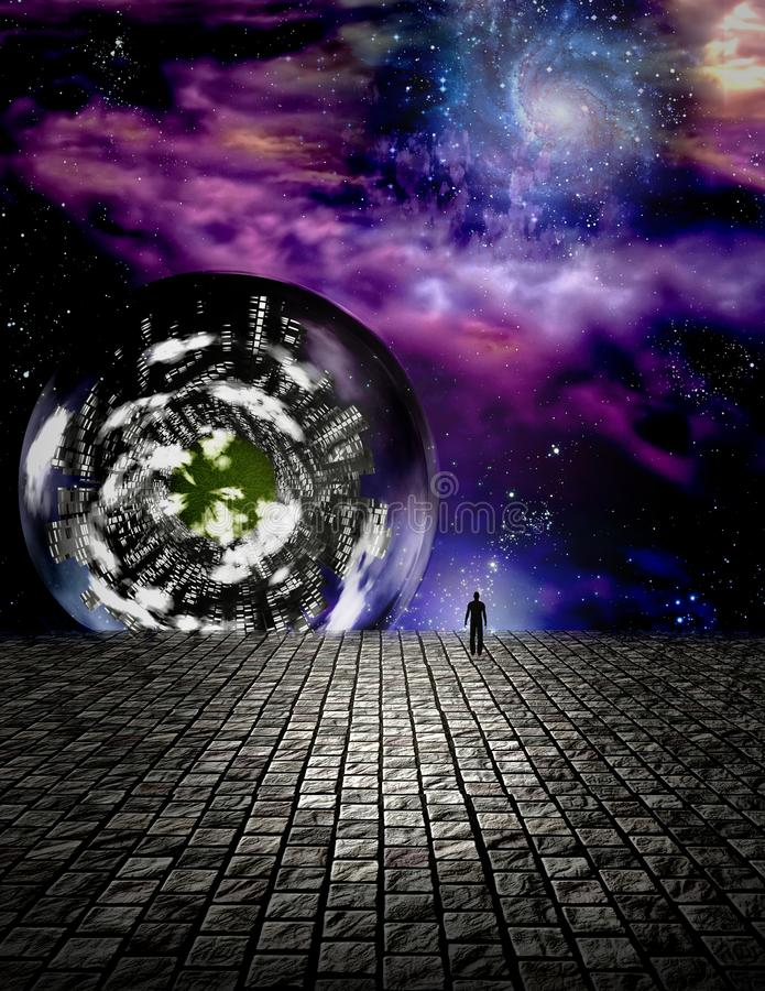 Man peers out into the abyss. In futuristic scene. Human elements were created with 3D software and are not from any actual human likenesses royalty free illustration