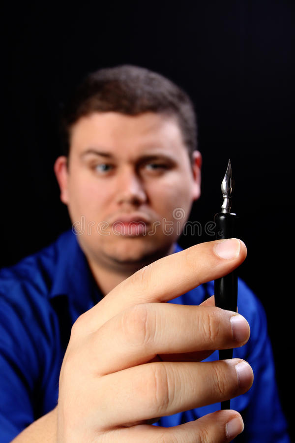 Download Man with Pen Right stock image. Image of isolated, writing - 12513155