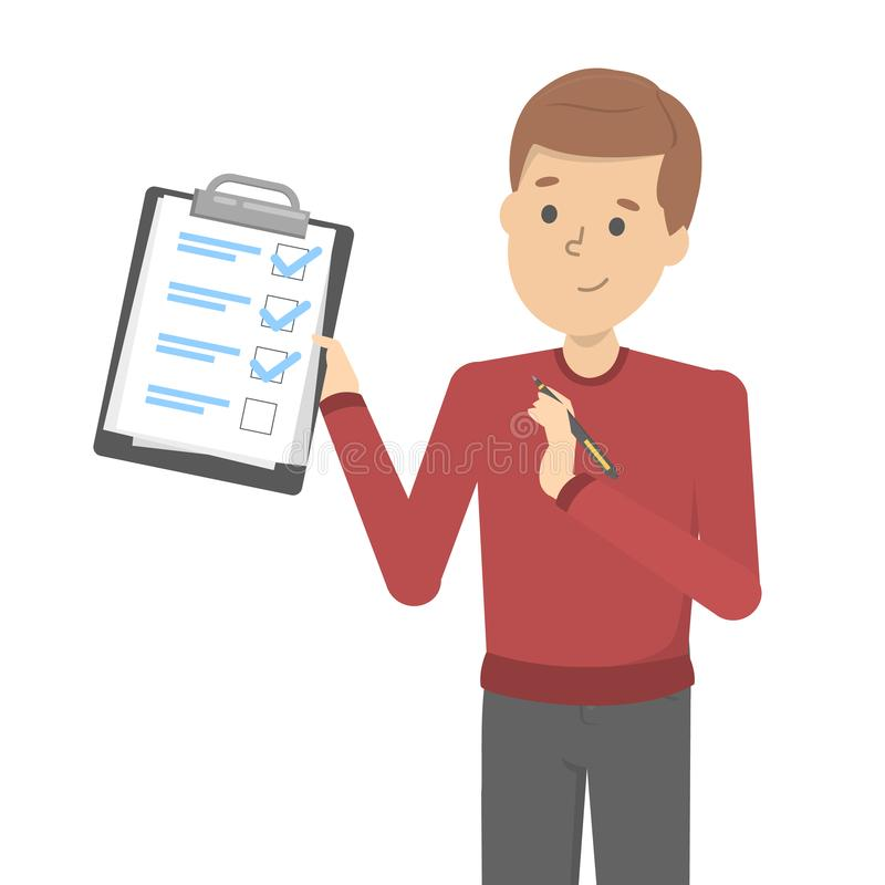 Man with pen standing and holding a clipboard. With checklist. Character fill the checkbox on the progress list. Vector illustration in cartoon style royalty free illustration