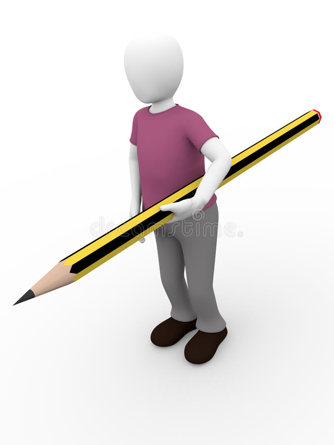 Download Man with pencil stock illustration. Illustration of hold - 24049539