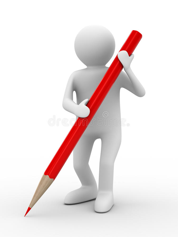 Man With Pencil On White Background Royalty Free Stock Photo