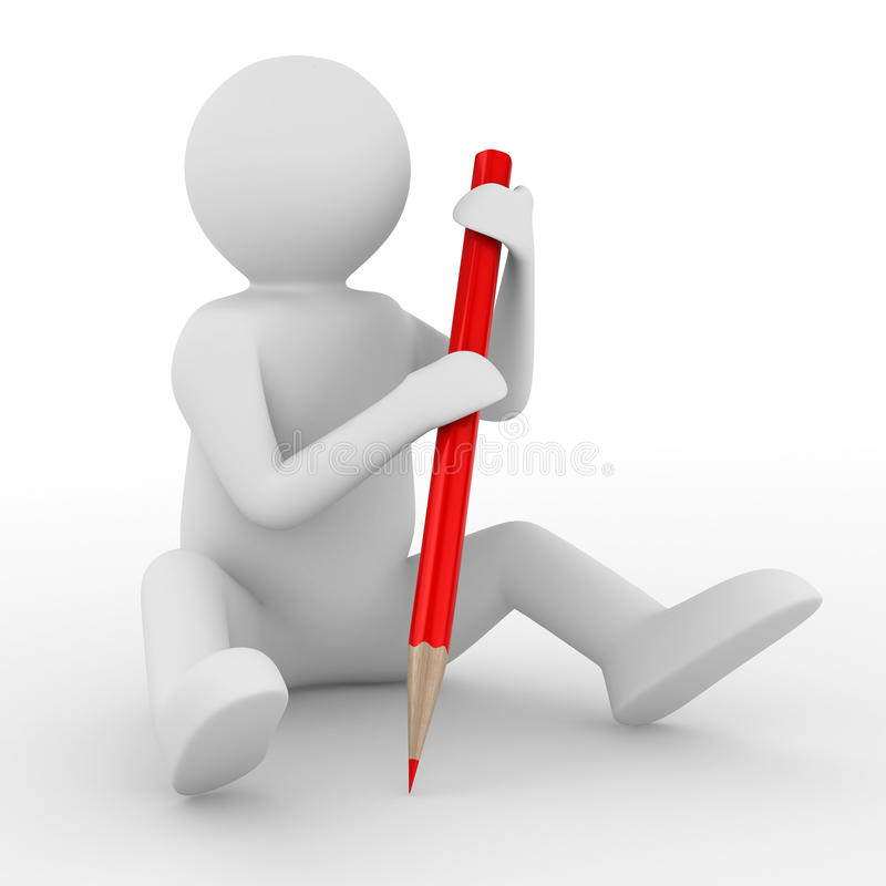 Download Man With Pencil On White Background Stock Illustration - Illustration: 17761272