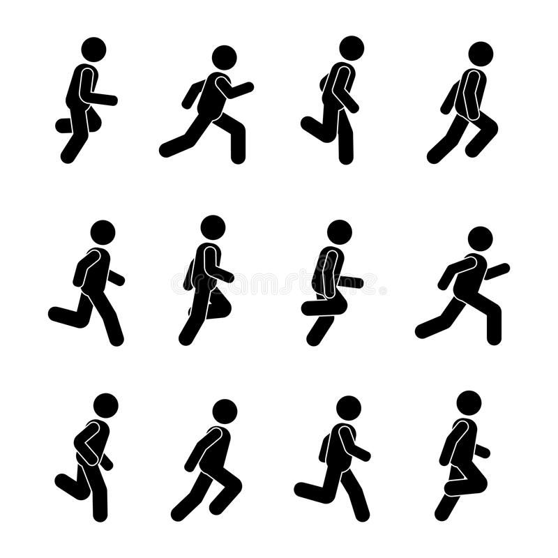 Man people various running position. Posture stick figure. Vector illustration of posing person icon symbol sign pictogram on white stock illustration