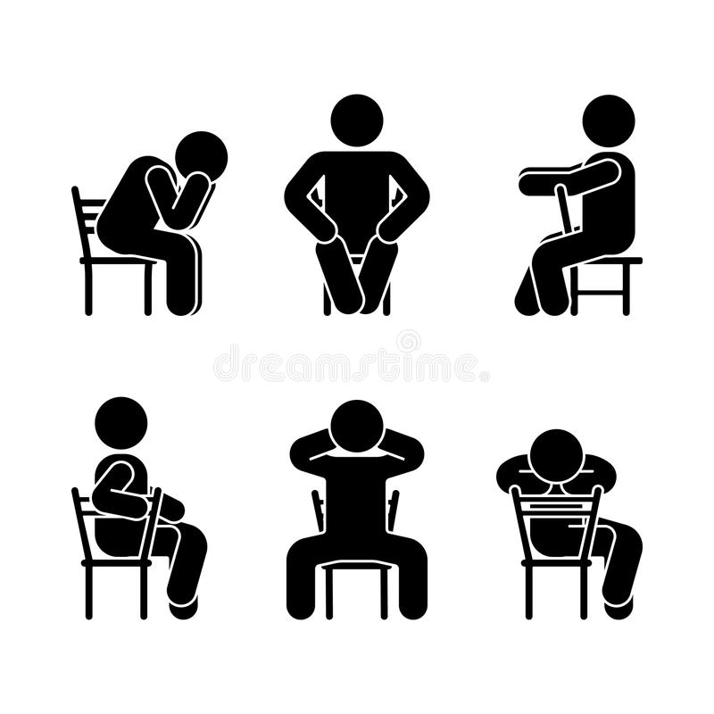 Man people various sitting position. Posture stick figure. Vector seated person icon symbol sign pictogram on white. Man people various sitting position royalty free illustration