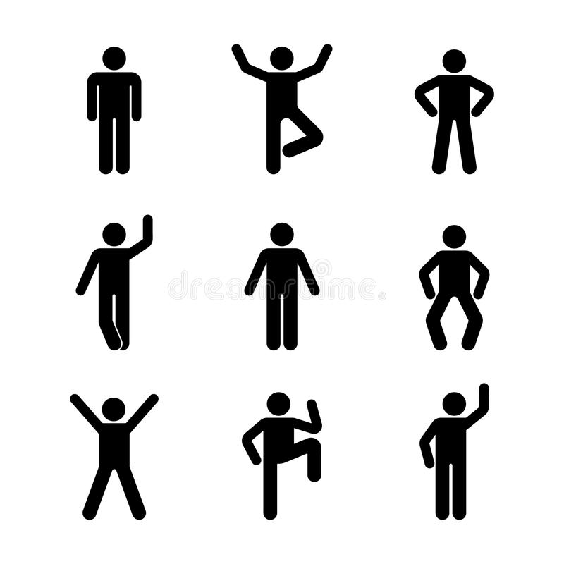 Man people various standing position. Posture stick figure. Vector illustration of posing person icon symbol sign pictogram. Man people various standing royalty free illustration