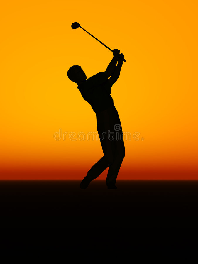 A man performing a golf swing. A silhouette of a man performing a golf swing stock illustration