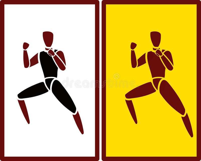 Man performing martial arts silhouette royalty free stock image