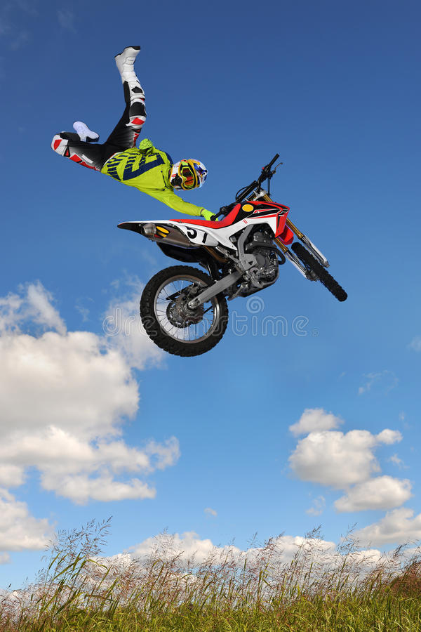 Man Performing Motorcycle Stunt royalty free stock images