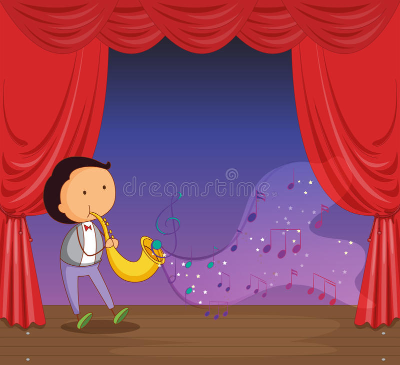 Download A Man Performing On Stage With Musical Notes Stock Vector - Image: 32710221