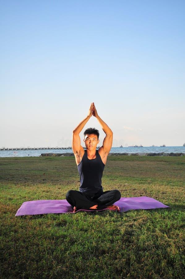 Man performing Yoga 1 royalty free stock photos