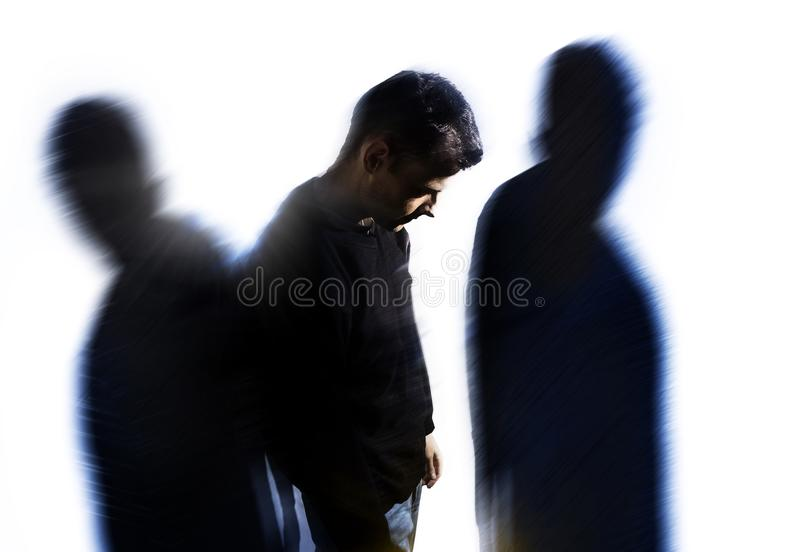 Man with personality disorder, headache problems, mental disorder royalty free stock images