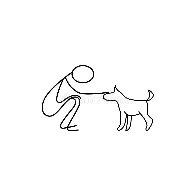 Man and pet stick figure vector stock illustration