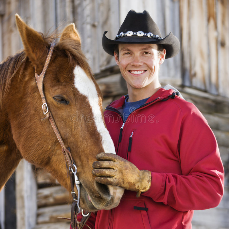 Download Man petting horse. stock photo. Image of recreation, person - 2846606
