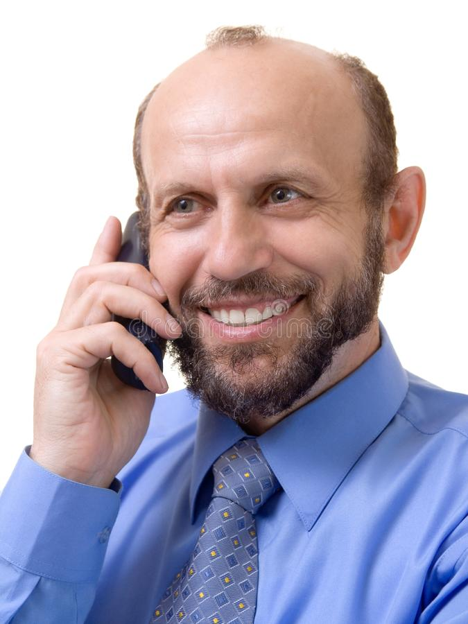 Man on the phone stock image