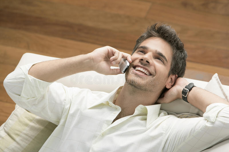 Download Man on Phone stock photo. Image of happy, holding, home - 25466690