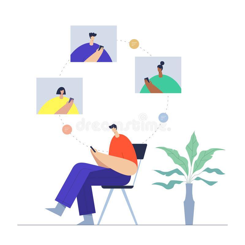 Man with phone, communication in social networking, mobile and internet interaction. People and virtual connections. royalty free illustration