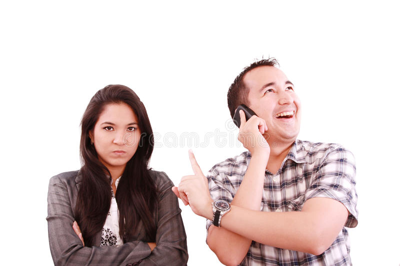 Man on the phone, forgetting about his wife royalty free stock images