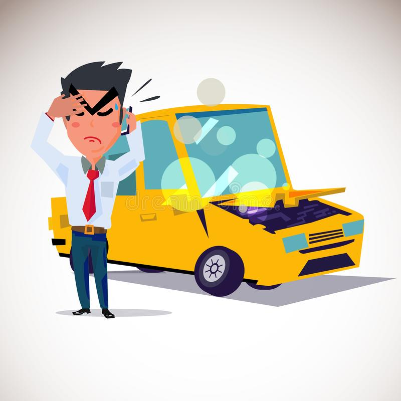 man on phone to calling accident with car crash in behind. character design. character design - vector illustration royalty free illustration