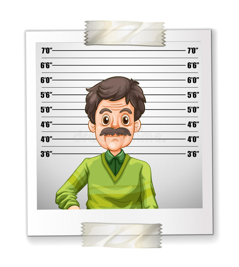 Man photo with height measurement stock illustration