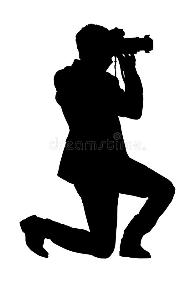 Man photographer silhouette lunges taking picture on white royalty free illustration