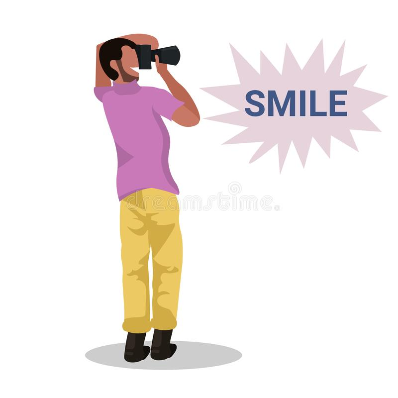 Man photographer taking photo with camera african american character standing and shooting male cartoon character full stock illustration