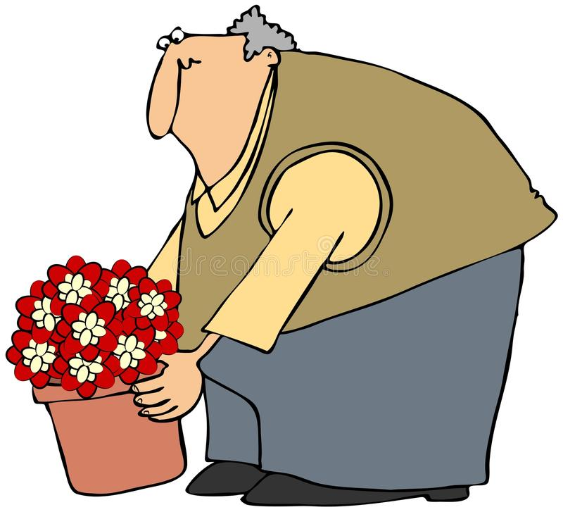Download Man Picking Up A Potted Plant Stock Illustration - Image: 24898181