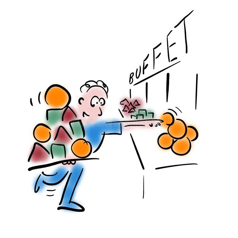Man picks food. royalty free illustration