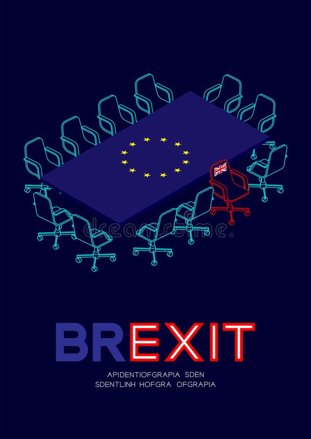 Man pictogram and isometric meeting table European Union EU flag pattern, united kingdom chair leave the meeting, Brexit concept. Design illustration isolated royalty free illustration