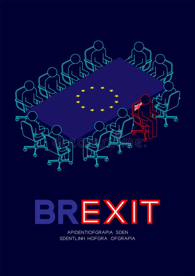 Man pictogram and isometric meeting table European Union EU flag pattern, united kingdom chair leave the meeting, Brexit concept. Design illustration isolated vector illustration