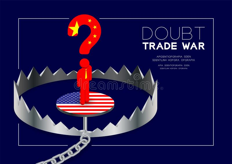 Man pictogram and question mark China flag standing on isometric Trap America flag, Doubt Trade war and tax crisis concept design. Illustration isolated on blue royalty free illustration