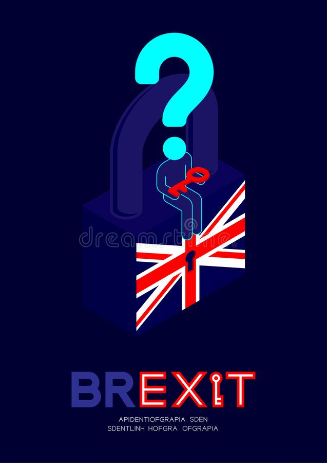 Man pictogram and question mark holding key sitting on isometric lock united kingdom flag pattern with keyhole, Brexit concept. Design illustration isolated on vector illustration